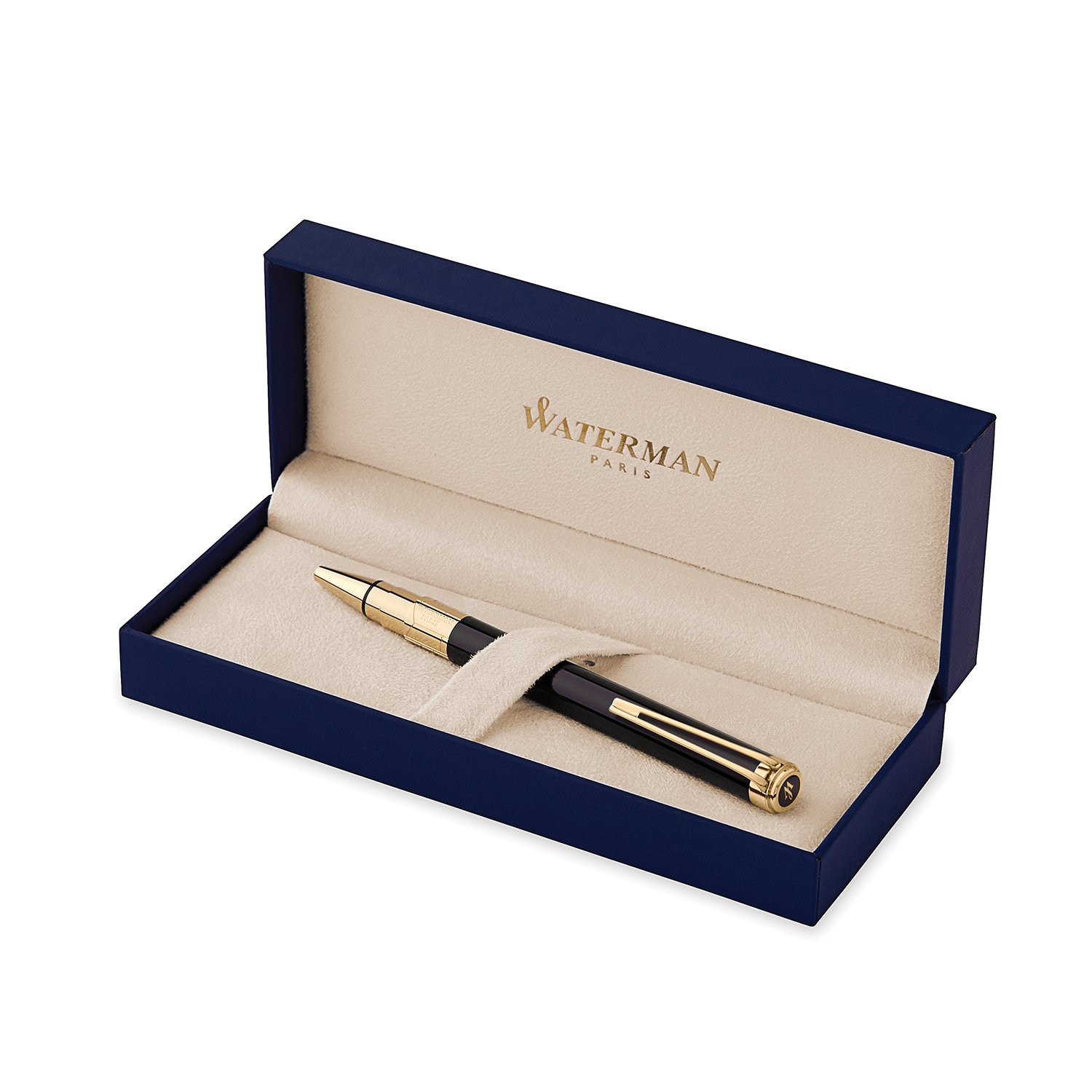 Waterman Perspective Ballpoint Pen, Gloss Black with 23k Gold Clip, Medium Point with Blue Ink Cartridge, Gift Box