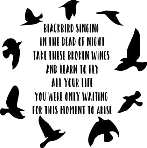 CustomVinylDecor Vinyl Wall Decal Inspirational Song Lyrics Quote with Black Birds Silhouette from The Beatles   Home Decor Sticker for Bedroom, Playroom, or Classroom   Black, Brown, Pink, Blue