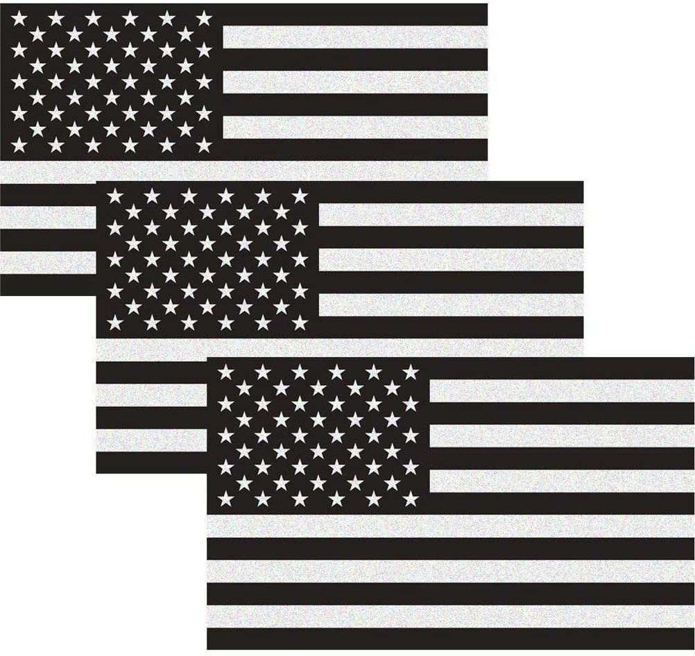 "CREATRILL Reflective Subdued American Flag Sticker 3"" X 5"" Tactical Military Flag USA Decal Great for JEE, Ford, Chevy or Hard Hat, Car Vinyl Window Bumper Decal Sticker (3-Pack)"