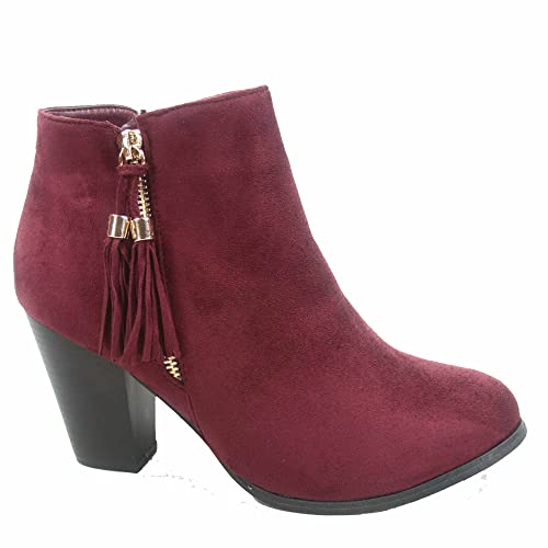 Taurus-5 Women's Fashion Almond Toe Fringe Tassel Chunky High Heel Booites