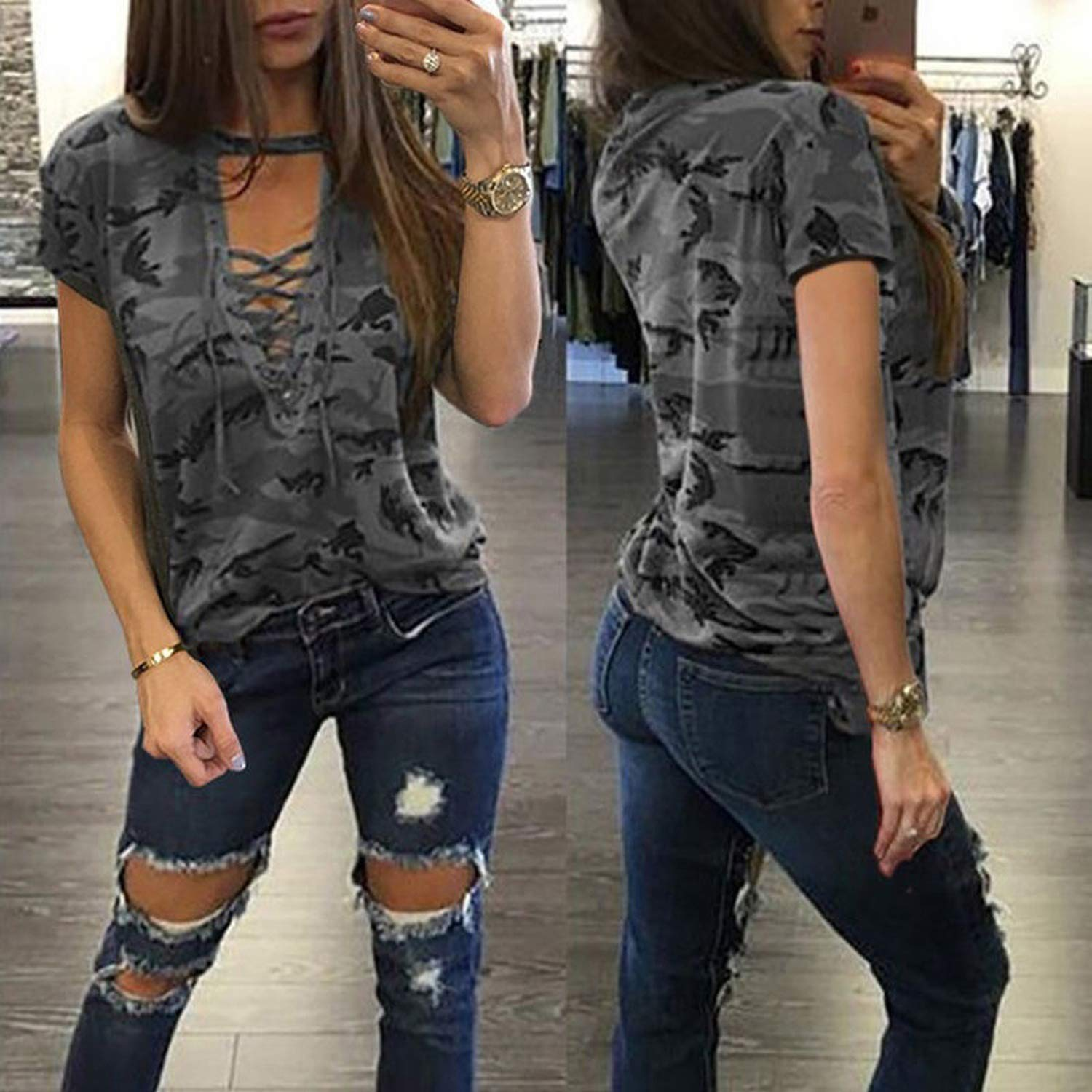 Women Short Sleeve Camouflage Loose T-Shirt Summer Lace Up Casual Tee Shirts Tops