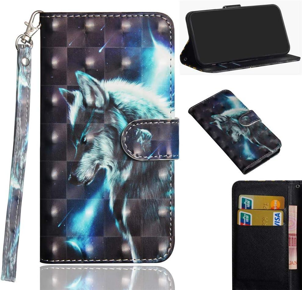 XYX LG Q7 Plus Case,LG Q7 Plus Wallet Case,[Wrist Strap][Kickstand] Premium PU Leather Wallet Case with Card Slots for LG Q7/LG Q7 Plus/LG Q7 Alpha - Wolf