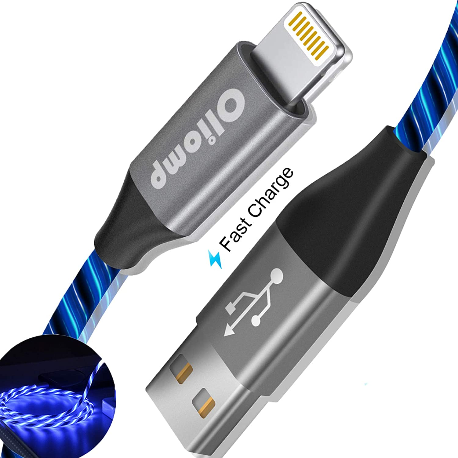 iPhone Charger Cable, Oliomp (Apple MFi Certified) 6ft LED Light Up Visible Flowing Lightning Cable iPhone Charging Cord for Apple iPhone 11 Pro Max XS XR X 8 7 6S 6 Plus SE 5S 5C 5 iPad (Blue)
