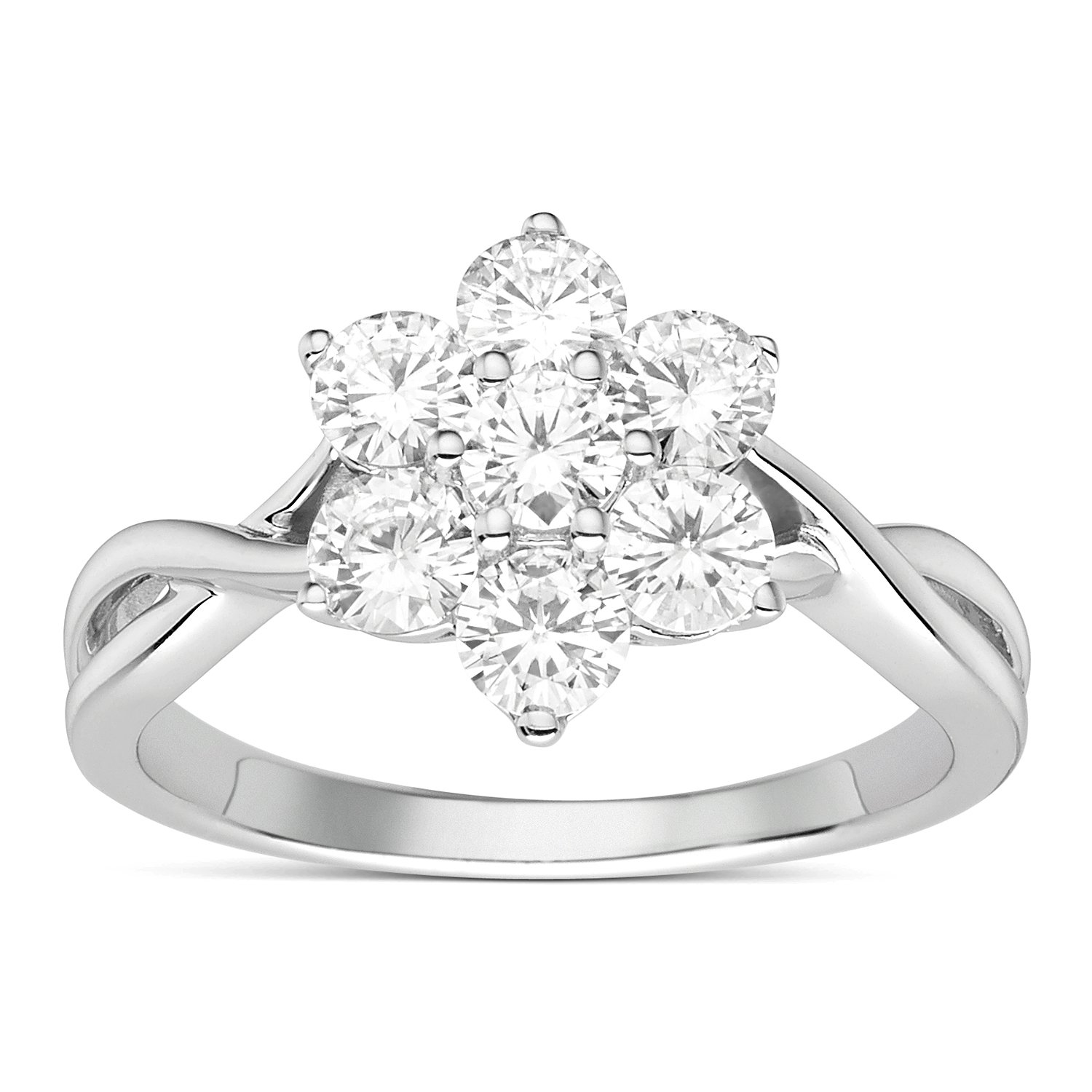 Forever Classic Round Cut 3.5mm Moissanite Cluster Ring-size 9, 1.12cttw DEW By Charles & Colvard by Charles & Colvard