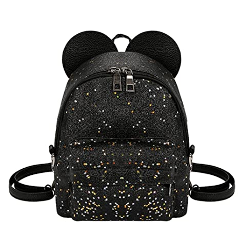 dfcb0d6cdf16 asiproper Shining Sequins Women Cute Small Backpacks PU Leather School Bags  Girls Princess Shoulder Bag  Amazon.in  Bags