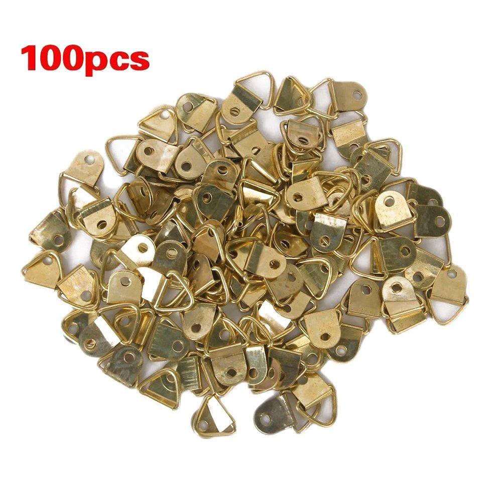 winomo colgadores para cuadros de fotos colgar Heavy Duty grandes triangular d de anillo de Single agujeros colgadores para cuadros –  100 Unidades