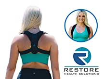 Premium Back Posture Corrector for Women by Restore Health Solutions. Adjustable Support Brace and Prevents Back