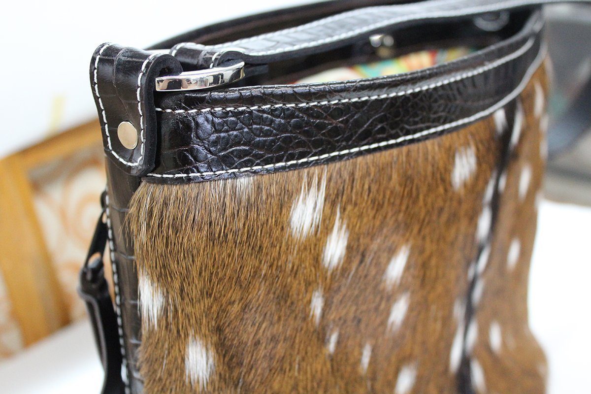 MoonStruck Leather Concealed Carry Purses - CCW Handbags Axis Deer Hair-on-Hide Leather - Made in the USA - Classic
