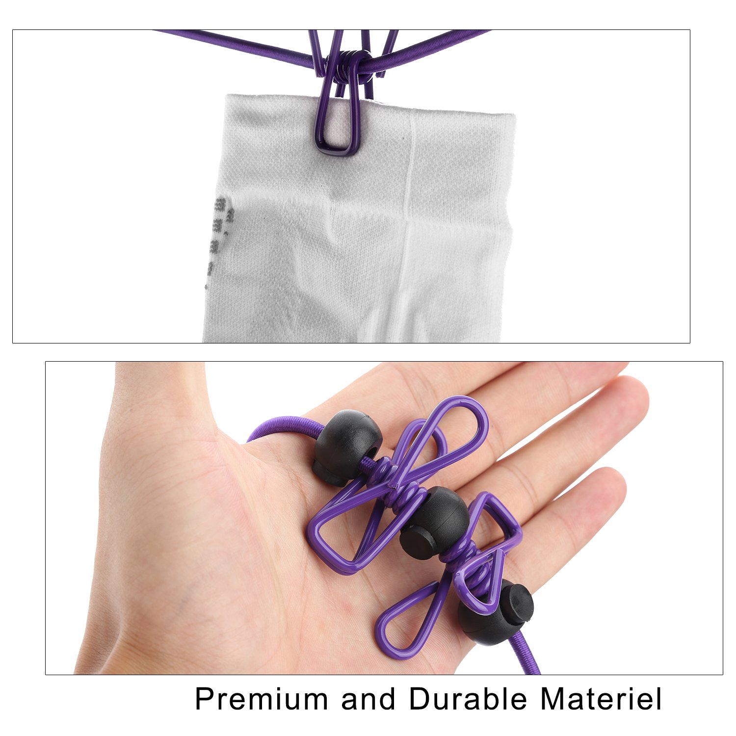 WAAO Portable Travel Clothesline Adjustable Elastic Travel Camping Windproof Clothesline with 12pcs Clips for Outdoor and Indoor Use (purple)