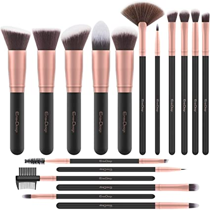 Brochas de Maquillaje EmaxDesign 17 piezas Pinceles de maquillaje professional fibra sintética para las cejas, base de maquillaje, polvos, crema, Set de brochas de maquillaje (Rose Golden): Amazon.es: Belleza