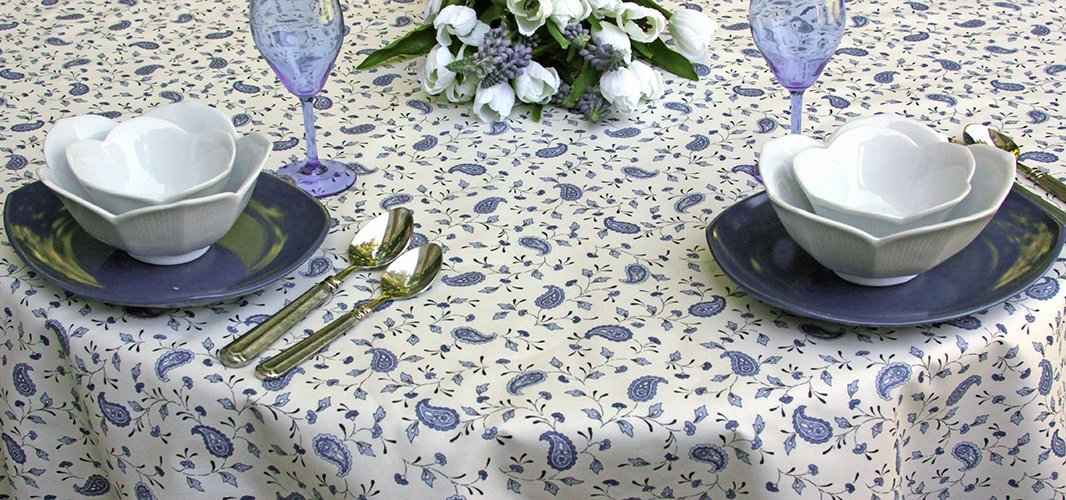 42 to 60 inches Round Coated Tablecloth Provence Paisley in Soft Blue - Please choose the Size - Water and Stain Resistant - Great for Indoor and Outdoor use -
