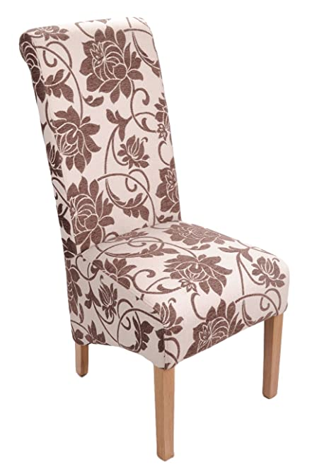 shankar mia floral jacquard upholstered dining chairs brown cream set of 2