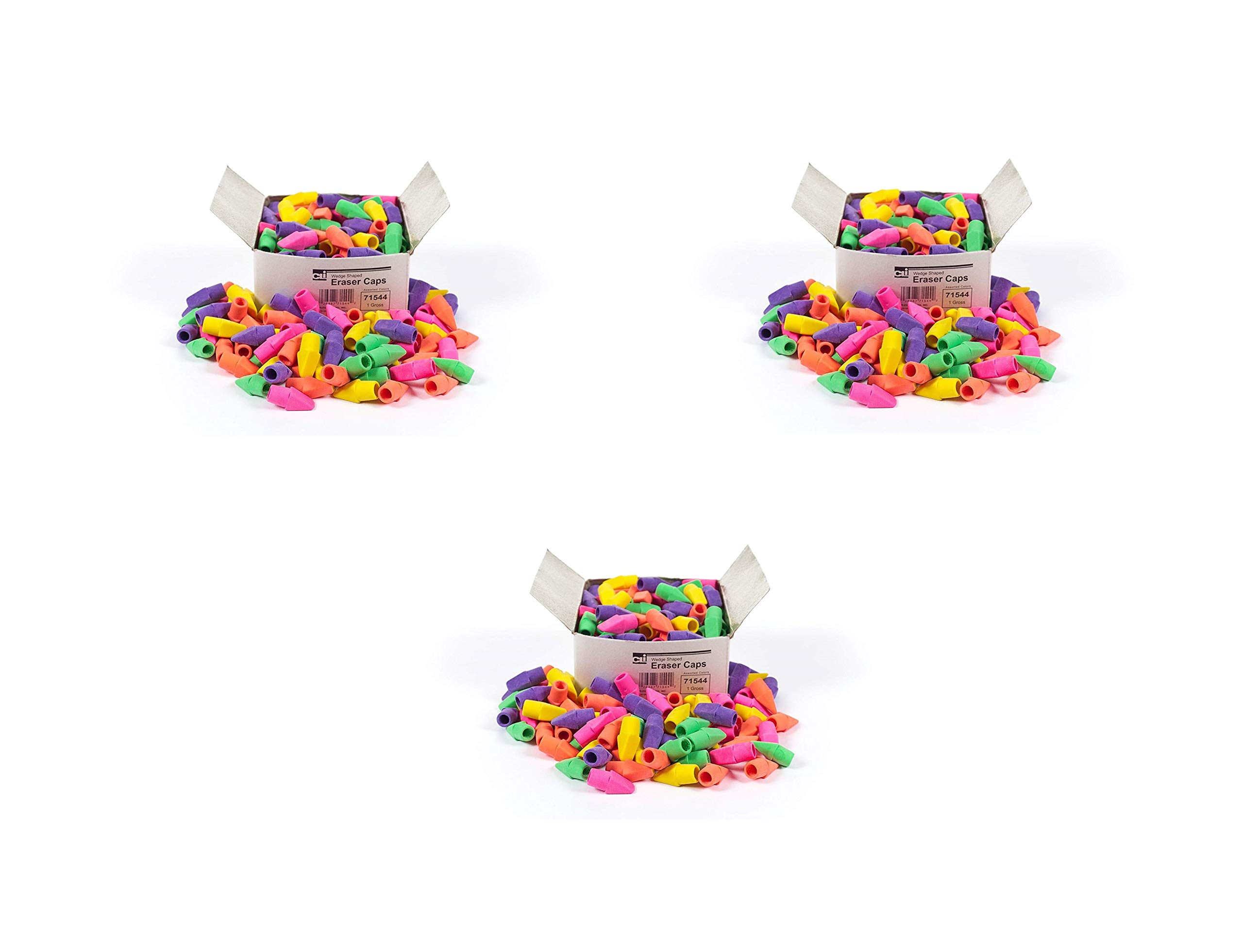 Charles Leonard Eraser Caps, without Latex, Assorted Colors, 144/Box, Sold as 3 Boxes (71544)