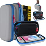 Orzly Case for Nintendo Switch Lite - Portable Travel Carry Case with Storage for Switch Lite Games and Accessories [Grey/Blue with a Tint of Pink Special Edition]