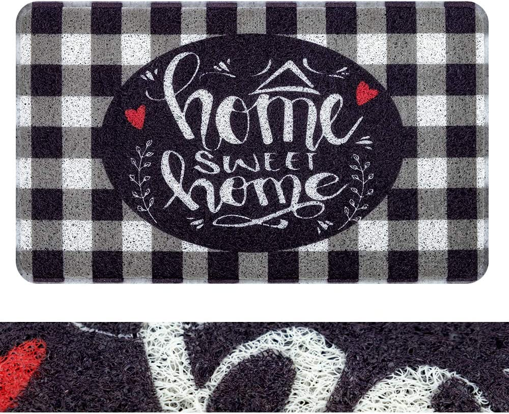 """RORA PVC Outdoor Indoor Welcome Doormat Black White Buffalo Check Rugs Home Sweet Home Plaid Rug Rubber Backing Non-Slip Entryway Rugs Shoes Mat Scraper Carpet for Garage Patio Garden(17.3""""x29.5"""")"""