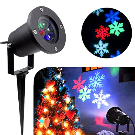 KOOT Christmas Lights, Halloween Snowflake Decorations Outdoor Waterproof  LED Light Projector Colorful Moving Snowflake For