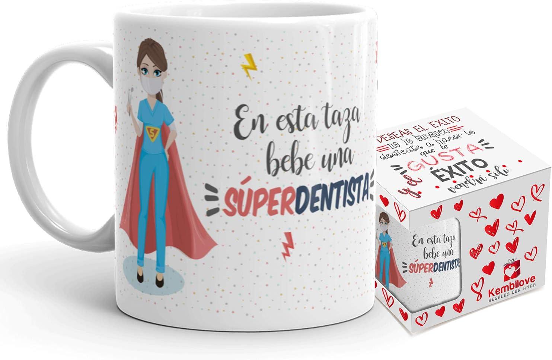 Kembilove Taza de Café de Dentista – En Esta Taza Bebe una Súper Dentista – Taza de Desayuno para la Oficina – Taza de Café y Té para Profesionales – Tazas para Dentistas de Superhéroes