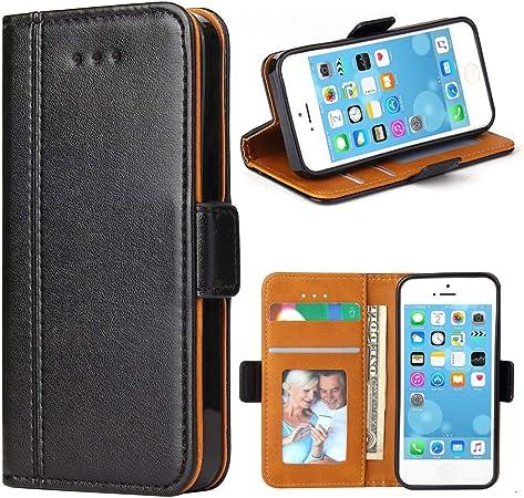 Bozon Coque iPhone 5S, Housse pour iPhone 5/ 5S/ Se en Cuir Portefeuille Etui avec Fentes de Cartes, Fonction Support, Fermeture Magnétique (Noir)