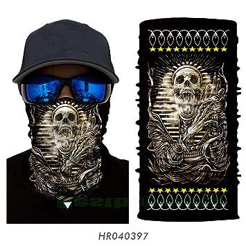 GREEN Skull-Biker Balaclava Neck Tube Snood Scarf Face Mask Warmer Bandana