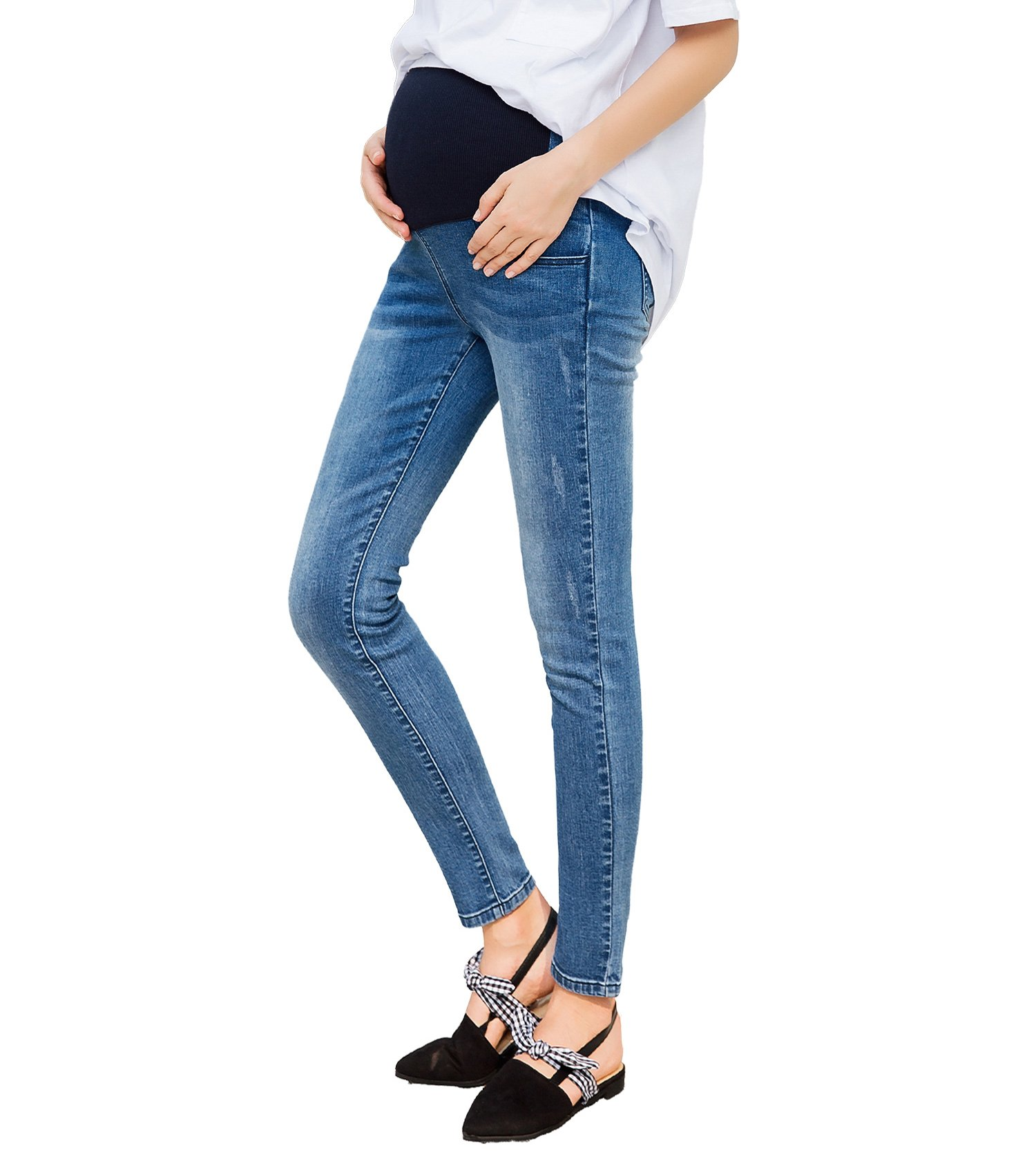 JOYNCLEON Maternity Skinny Jeans Pregnant Women Stretch Work Pants (Label L =US 2-4 Fit Hip 89cm/35.0'';Inseam 27.6'', Blue)
