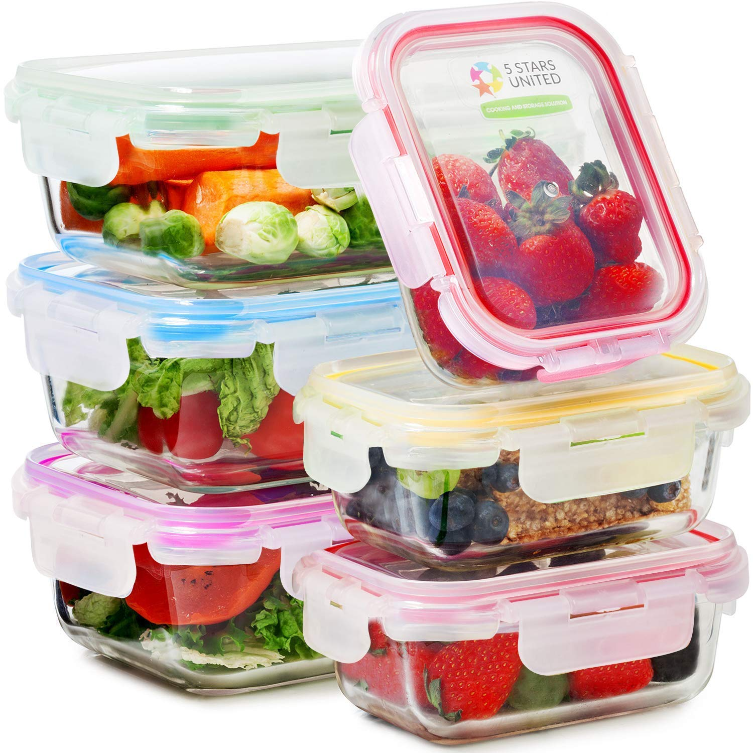 Glass Food Storage Containers with Lids - 6 Pack, 2 Sizes (35 Oz, 12 Oz) - Meal Prep Lunch Boxes - Microwave, Fridge, Freezer, Dishwasher, Oven Safe - BPA-free - Easy Snap, Airtight and LeakProof Lids by 5 STARS UNITED (Image #1)