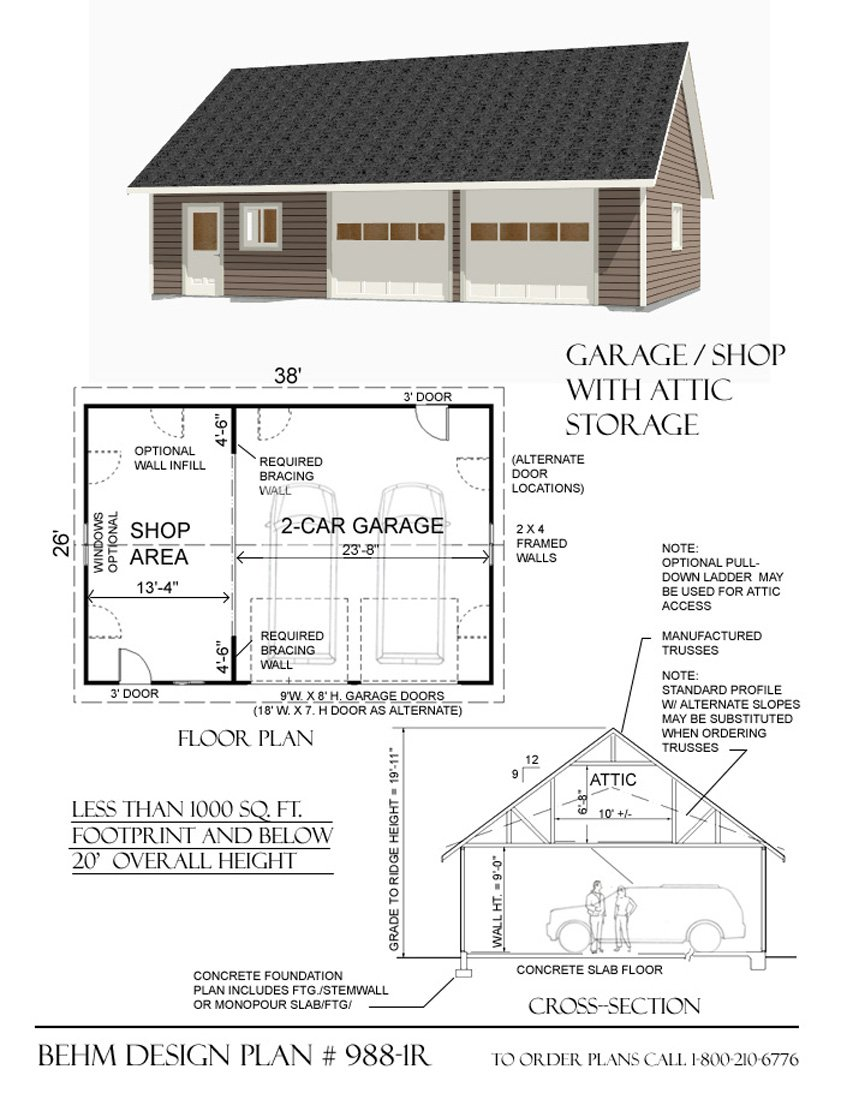 Garage Plans : 2 Car With Shop - 988-1r - 38' x 26' - two car - By Behm Design by Garage Plans By Behm Design (Image #2)