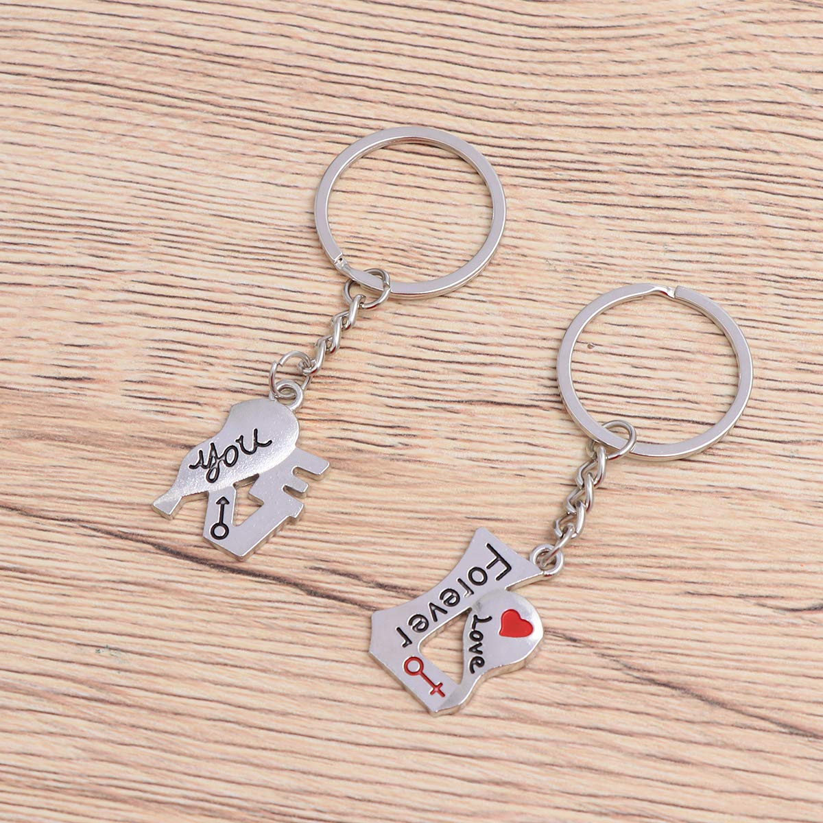 Amosfun Forever Love You Couple Lovers Heart Shaped Keychain Set Valentines Day Love Gift Wedding Valentines Day Christmas Birthday Gift