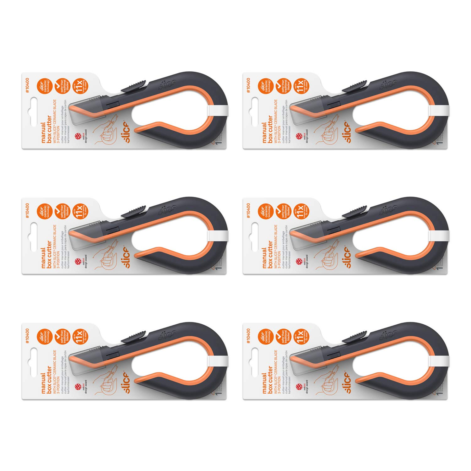 Slice 10400-CS 10400 Box Cutter, Ceramic Safety Blade, 3 Position Manual Button, Stays Sharp up to 10x Longer Than Steel Blades, 6 Pack by Slice