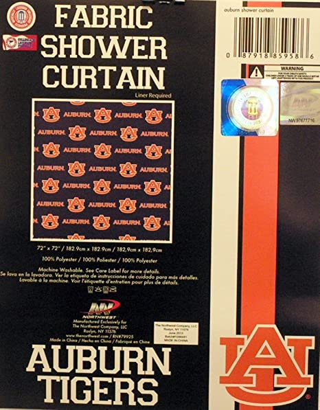 Auburn Tigers NCAA Fabric Shower Curtain 72quot