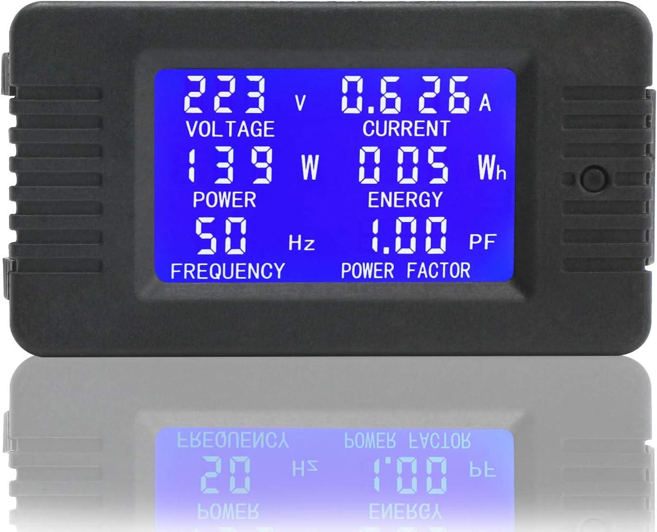 Droking Medidor Digital de AC AC 80 ~ 260V 100A Volt/ímetro Amper/ímetro Vat/ímetro Mult/ímetro Voltaje de Prueba Amperaje Energ/ía Energ/ía Factor Todo en un medidor con Transformador de Corriente CT