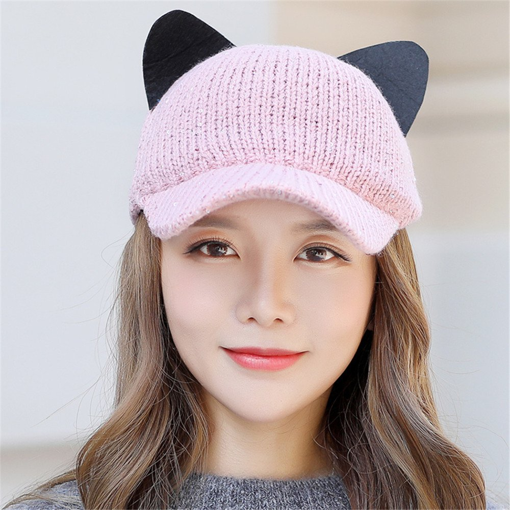 Btbtav hat female winter cute girls cat ears baseball cap warm knit jpg  1000x1000 Dome cat ef1ab85d4282