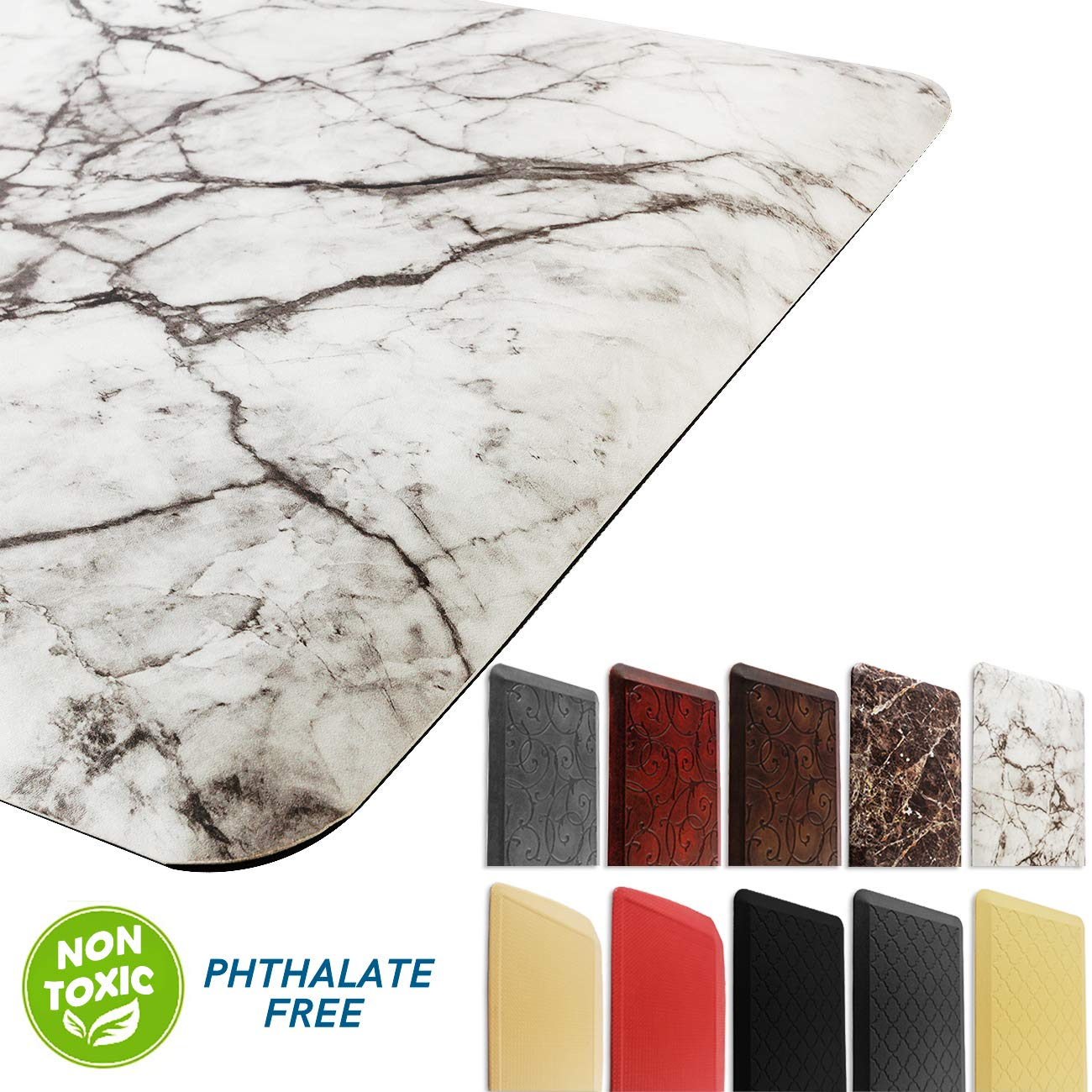 Marble Kitchen Mat Anti Fatigue Standing Mat Waterproof Nonslip Cushioned Rugs for Office Computer Desk W20x L36x H3/4'' by EverGrace