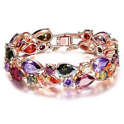 Rolicia Treasures String Gold Plate Multi Color Czech Crystal 19 +5 cm Bracelet Bangle Link for Your Love l3cbVRN