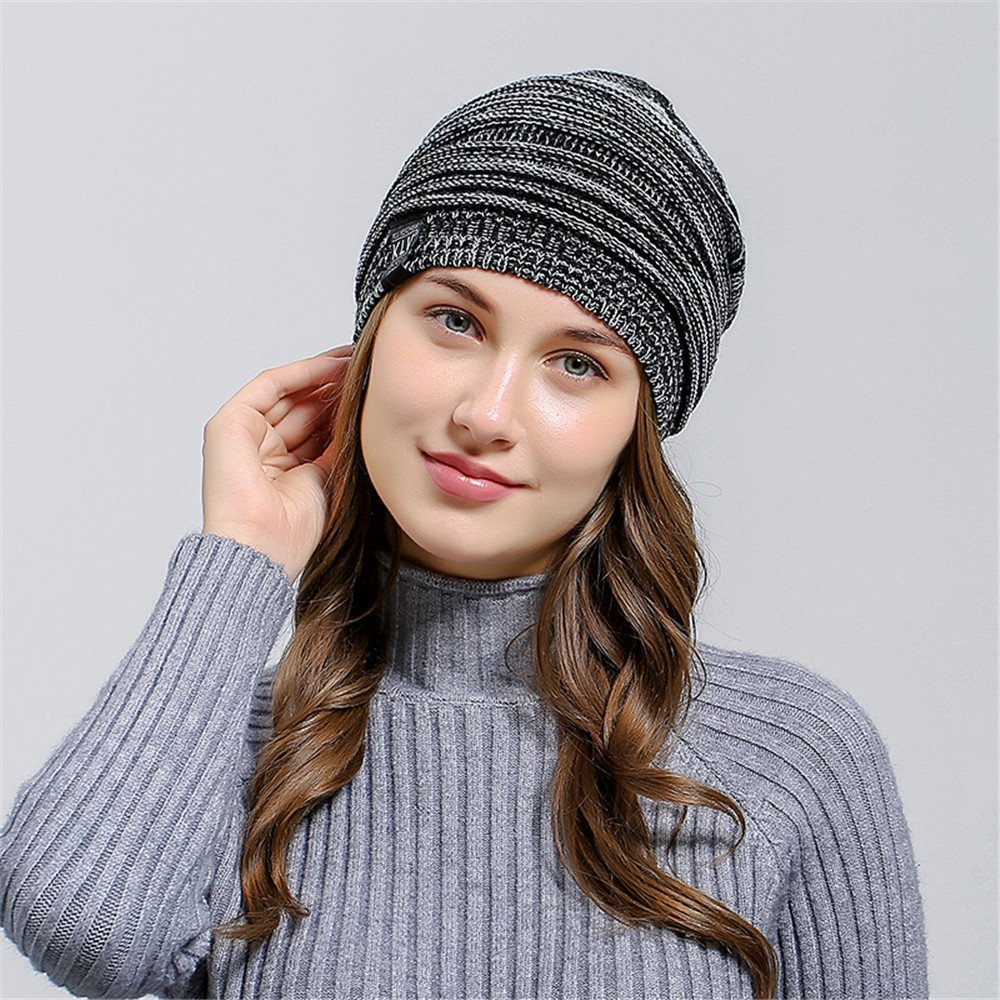 HULKAY Unisex Caps Premium Soft Stretch Pleated Warm Hooded Wool Knitted Hat(Black) by HULKAY (Image #2)