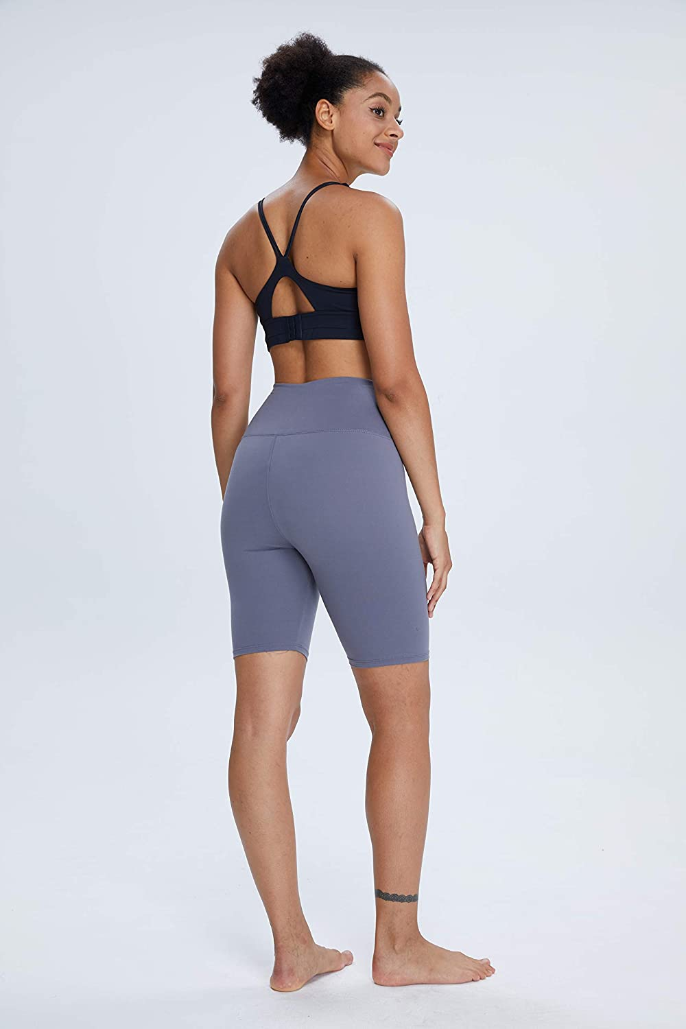 """TNNZEET Biker Shorts for Women Workout 8/"""" High Waisted Stretchy Yoga Pants for Running Cycling"""