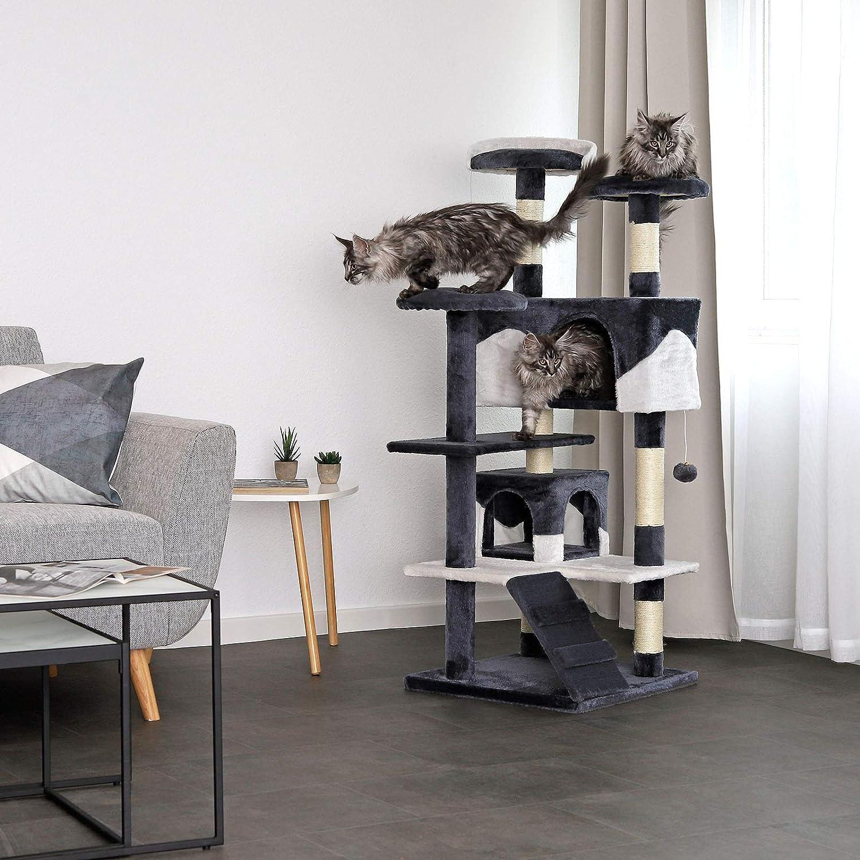 dibea Árbol rascador árbol para escalar árbol rascador para gatos Altura 130 cm gris/blanco