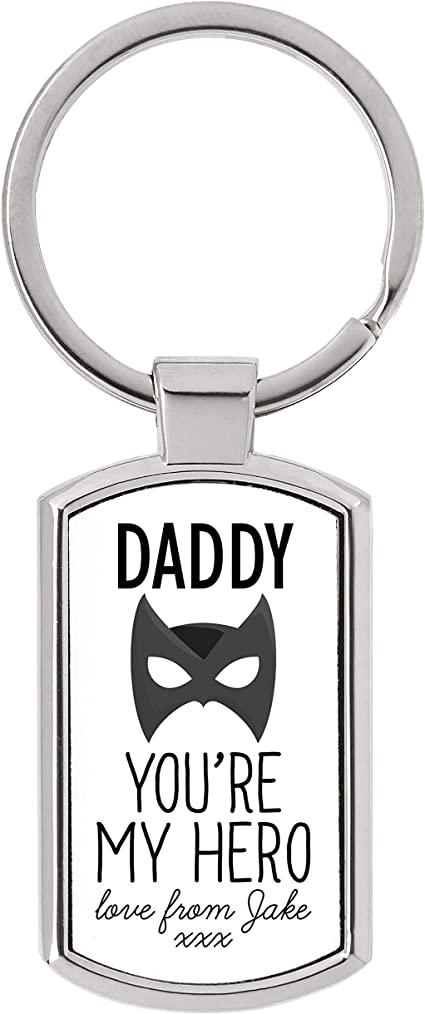 Who needs a super hero when you have dad father/'s keyring personalised wooden