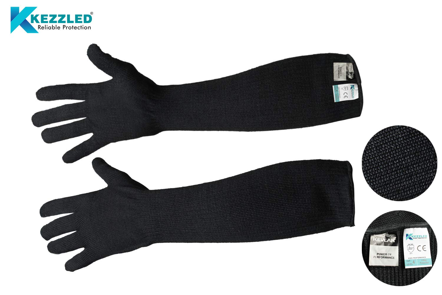 Cut/Scratch/Heat Resistance Designer Glove with Extended Arm Sleeve- Black (Made with Kevlar by DuPont) by KEZZLED (Image #7)