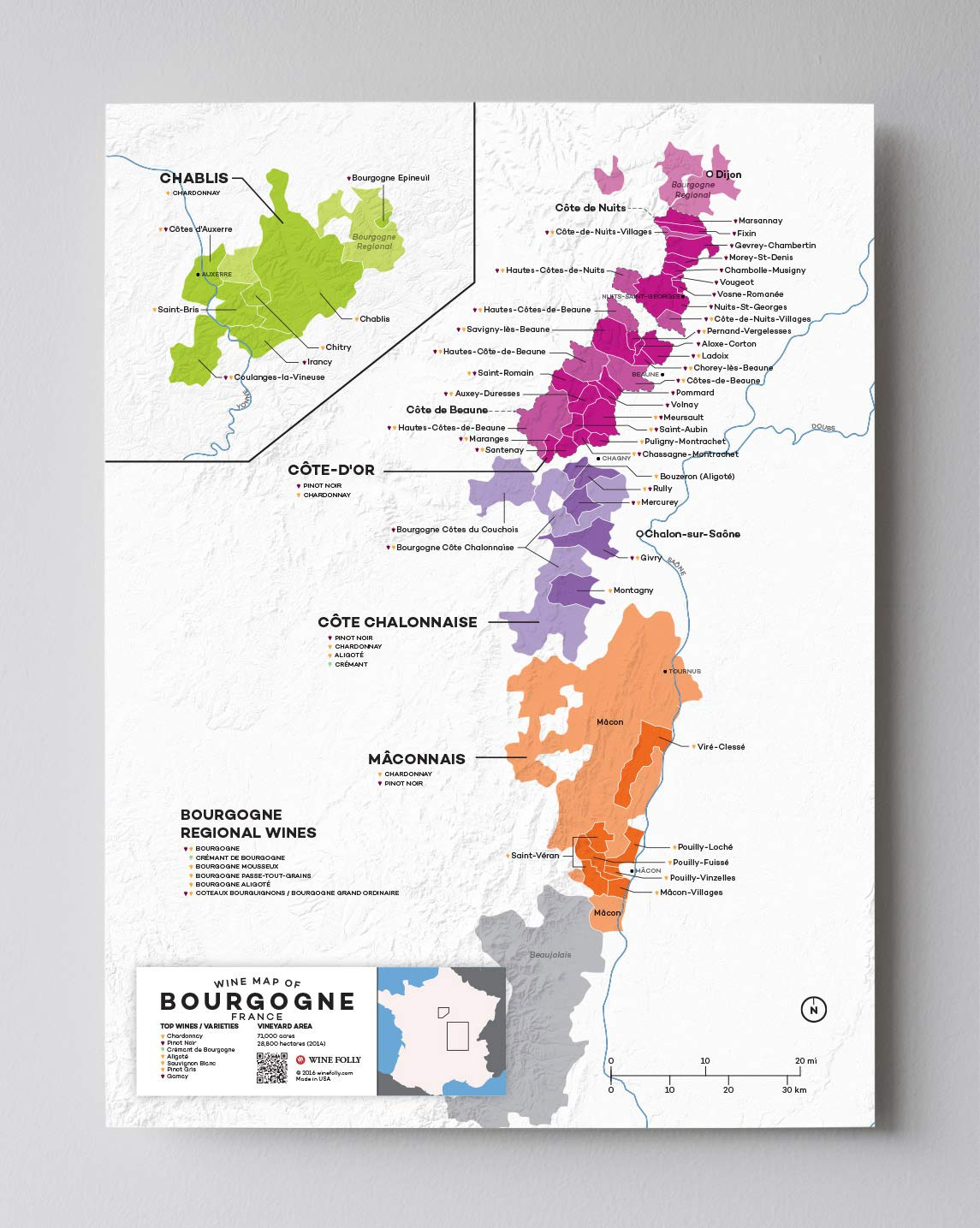 Map Of France To Print.Wine Folly France Burgundy Wine Map Poster Print 12 X 16