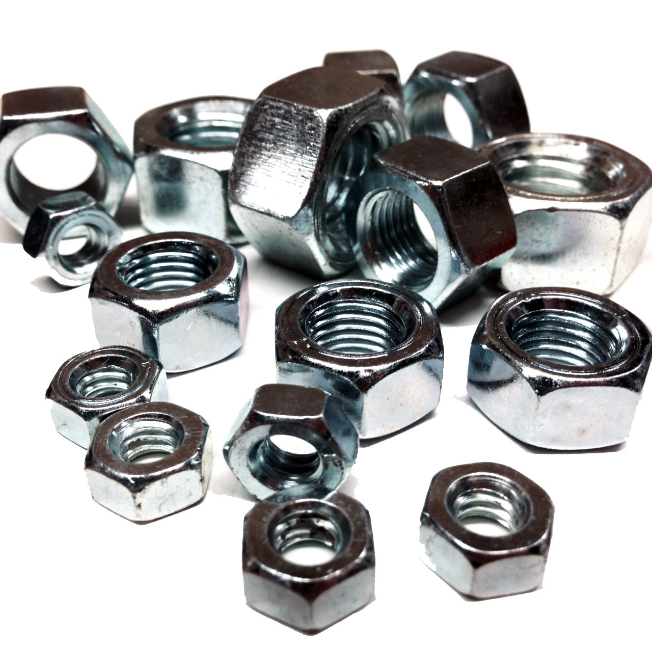 PACK OF 10 x 1/4' UNC ZINC PLATED FULL HEX NUTS Falcon Workshop Supplies Ltd