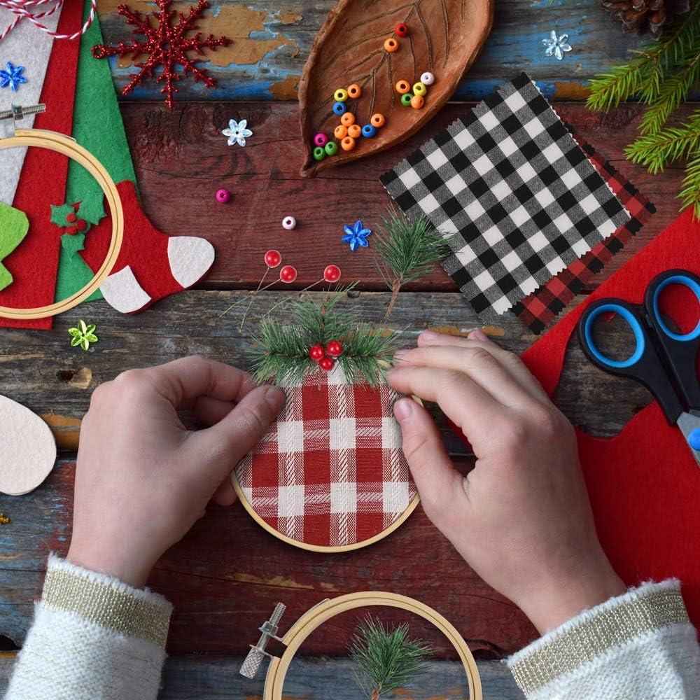 12 St/ück 8 cm Stickrahmen 12 St/ück Weihnachten Plaid Caydo 99 St/ück Stickrahmen Ornamente W/ärmetransfer-Muster und k/ünstliche Kiefernnadeln rote Beeren Set f/ür Handwerk Weihnachten Stoff Dekoration