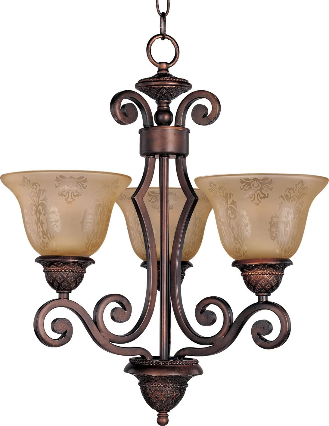 Maxim Lighting 11235SAOI Symphony – Three Light Chandelier, Oil Rubbed Bronze Finish with Screen Amber Glass