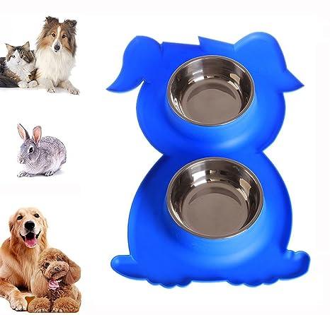 iPetoo Cuencos para Perros Gato, Comedero para Mascotas Bebedero Portátil Acero Inoxidable Alimentador de Mascota