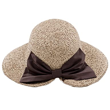 9607c29a23ef7 Womens Bow Straw Hat Ladies Foldable Sunscreen Summer Sun Hat at Amazon  Women s Clothing store