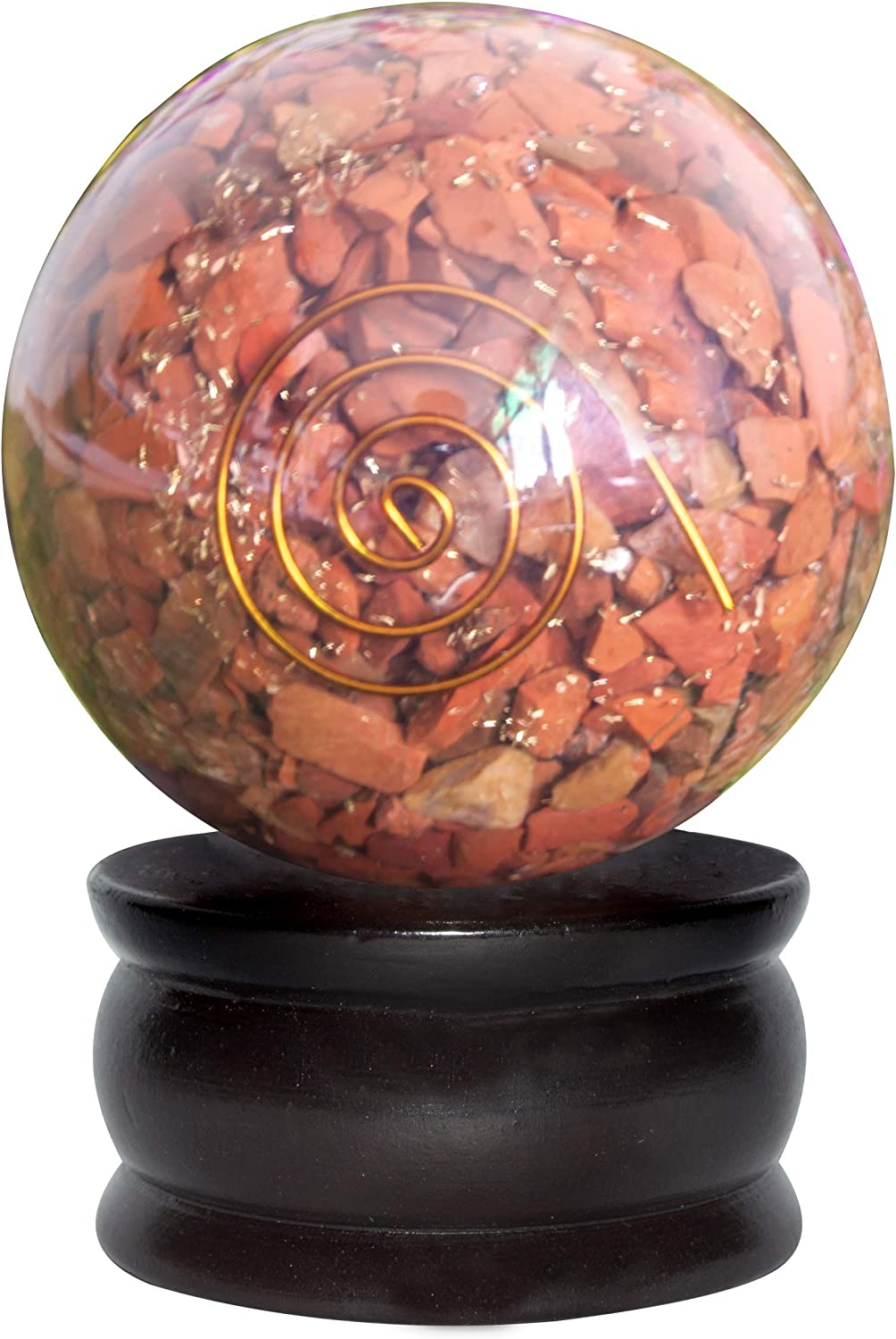YATHABI Red Jasper Orgone Ball for Attracting Positive Energies Crystal Healing Chakra Balancing Spiritual Gift & Enhance Home Decor Size: 50-55 mm Approx