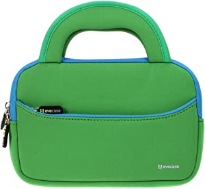 7-8 inch Tablet Sleeve, Evecase 7~8 inch Tablet Ultra-Portable Neoprene Zipper Carrying Sleeve Case Bag with Accessory Pocket - Green/Blue