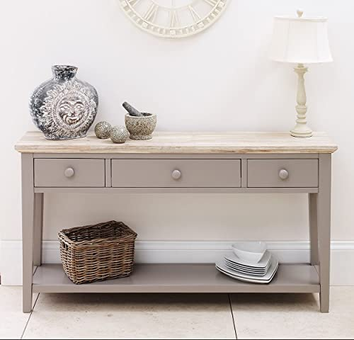 painted console table. Florence Console Table Dove Grey. VERY STURDY With 3 Drawers, Shelf, Painted