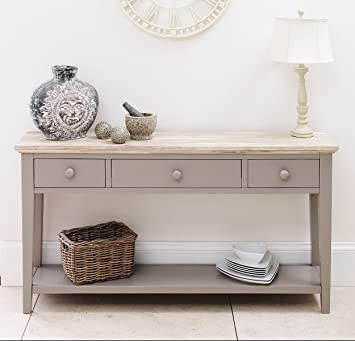 Fabulous Florence Console Table Dove Grey Very Sturdy Console Table With 3 Drawers Shelf Solid Sides And Back Beautiful Limed Top Finish Interior Design Ideas Oxytryabchikinfo