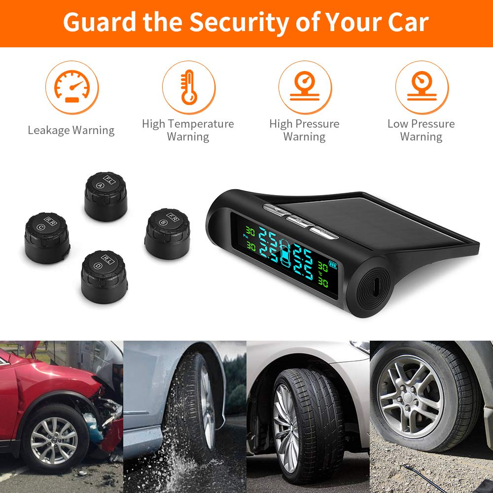 ZEEPIN TPMS Solar Power Universal Wireless Tire Pressure Monitoring System with 4 DIY External Sensors(0bar-6.82bar/0 psi - 99 psi) & Real-time Displays 4 Tires\' Pressure and Temperature