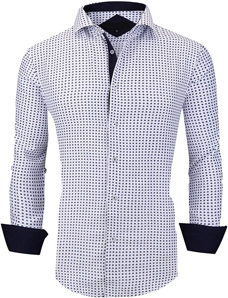 Printed Casual Button Down Shirts for Men UniFashion Mens Dress Shirts Regular Fit Long Sleeve Shirt
